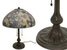 3453Y: Handel Reverse Painted Glass and Bronze Lamp The