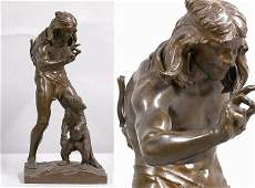 3491: Bronze Figure of an Indian Taming a Bear Cub Afte
