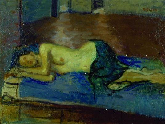 3: Moses Soyer American, 1899-1974 RECLINING NUDE