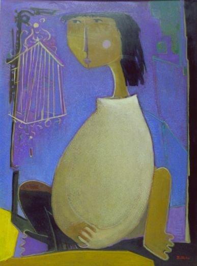 19: Angel Botello Spanish, 1913-1986 WOMAN WITH BIRDCAG