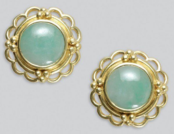 2008: Pair of Gold and Jade Earrings