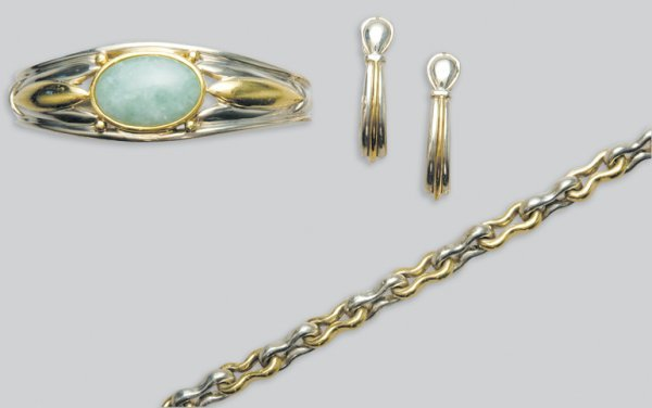 2017: Silver and Gold Bangle, Bracelet and Pair of Earr