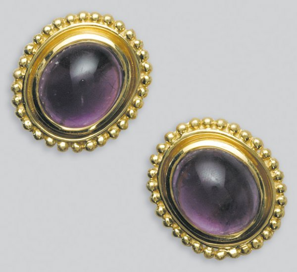 2019: Pair of Gold and Cabochon Amethyst Earrings