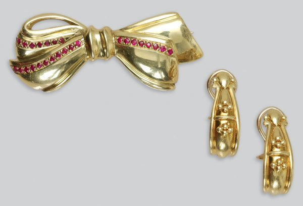 2020: Gold and Ruby Bow Pin and Pair of Gold Earrings