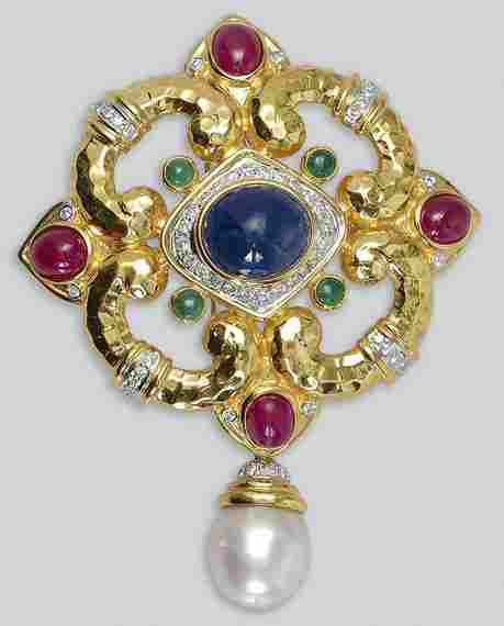 Gold, Cabochon Colored Stone, Cultured Pearl and