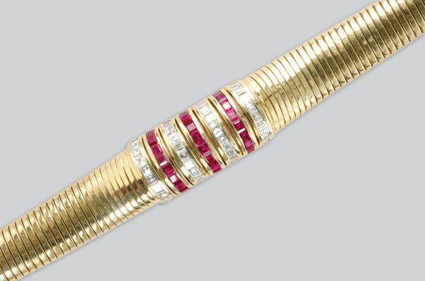 2284: Gold, Ruby and Diamond Bracelet