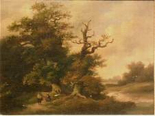 3060: Attributed to Georg Hohn RIDER ON A WOODED PATH a