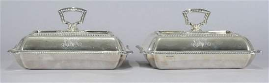 3436 Pair of English Silver Covered Entree Dishes