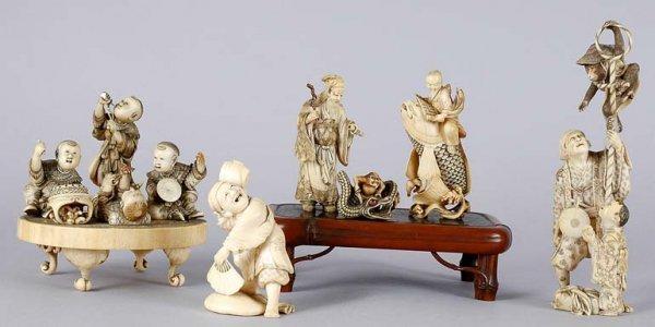 3583: Group of Japanese Ivory Okimono