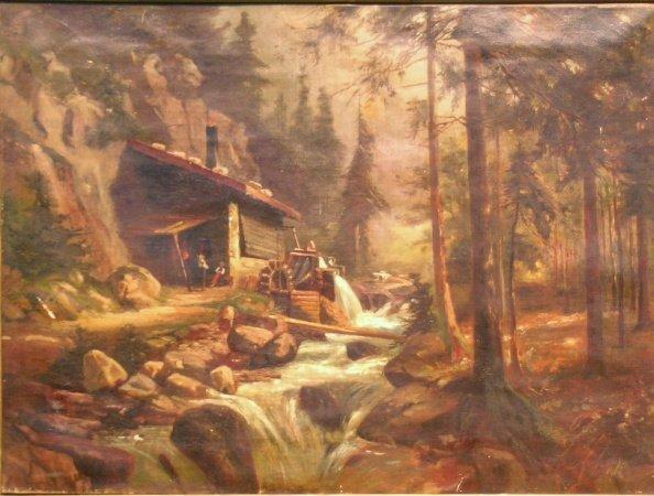 12: California School 19th Century MILL IN THE CALIFORN