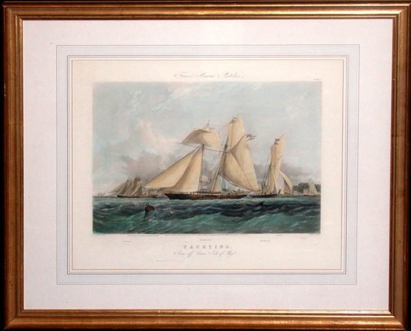 82: After T. S. Robins YACHTING Hand-colored aquatint b