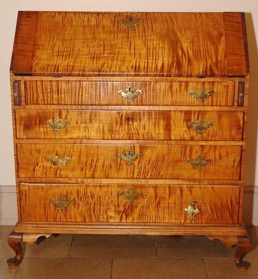 168: Figured Maple Slant Front Desk