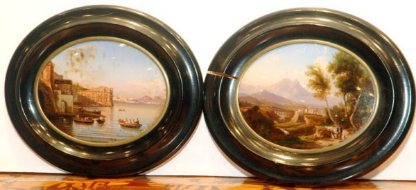 1298: Pair of Italian Reverse Glass Pictures