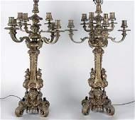 2164 Pair of Louis XVI Style GiltBronze NineLight Th