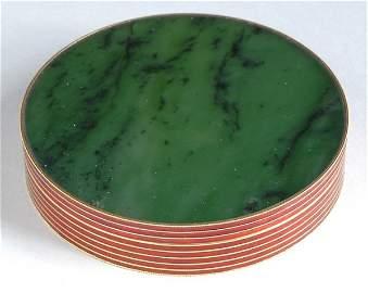 2235: Tiffany & Co. 18 Kt. Gold, Enamel and Nephrite Ja