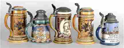 2351 Miscellaneous Group of Five Mettlach Pewter Mount