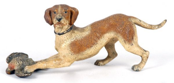 3003: Cold Painted Bronze Figure of a Hound with Pheasa
