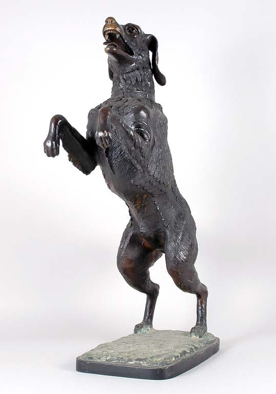 3009: Patinated-Bronze Figure of a Begging Dog Height 3