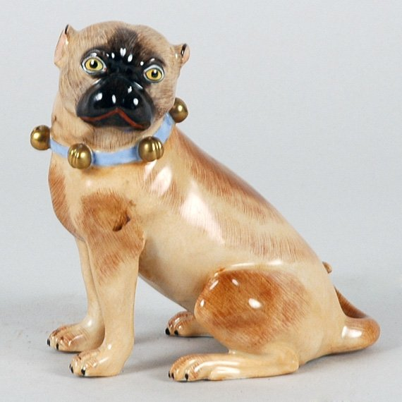 3010: Dresden Porcelain Figure of a Seated Pug Height 4