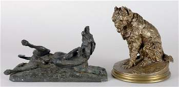 3040: After Pierre Jules Mene Two patinated-bronze figu