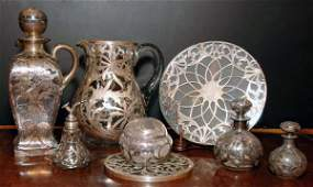 387 Miscellaneous Group of Silver Overlay Glassware