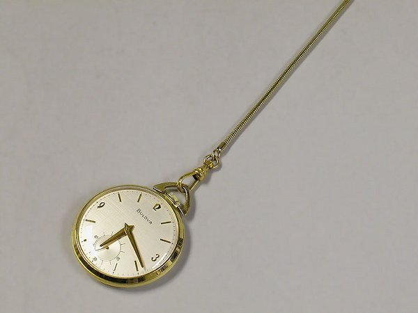 4006: Open Face Pocket Watch and Chain