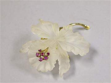 4083: Rock Crystal and Ruby Flower Pin
