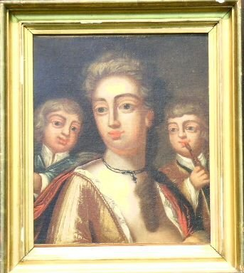 5014: British School 18th Century MOTHER AND HER TWO SO