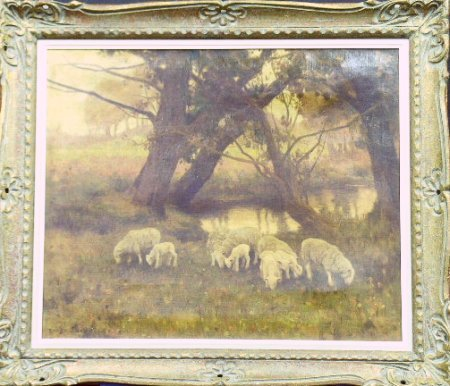 5024: Eanger Irving Couse 1866-1936 SHEEP GRAZING AT TH