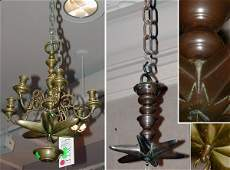 5354 Two Hanging Brass Oil Lamps
