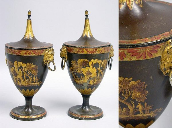 5442: Pair of Regency Style Tole Peinte Chestnut Urns