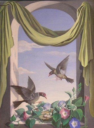1001: 20th Century School STILL LIFES WITH BIRDS IN A W