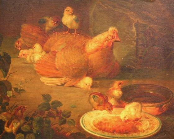 1006: Follower of Ben Austrian CHICKENS FEEDING