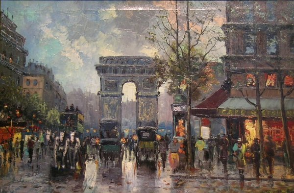 1013: Manner of Antoine Blanchard PARISIAN STREET WITH