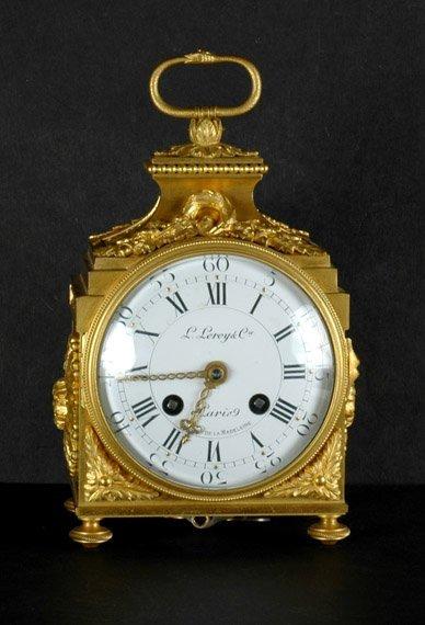 1208: French Gilt-Bronze Clock