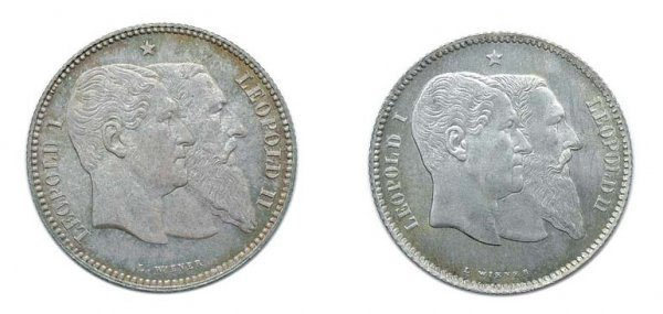 2022: BELGIUM: 1880, 1 Franc and 2 Francs, KM. #38 and