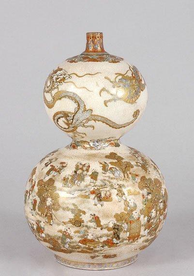 3007: Japanese Satsuma Double-Gourd Vase