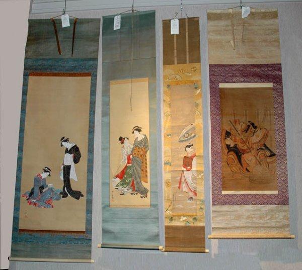 3009: Ukiyo-e School Four hanging scrolls