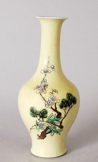 3012: Chinese Yellow Ground Famille Verte Porcelain Vas