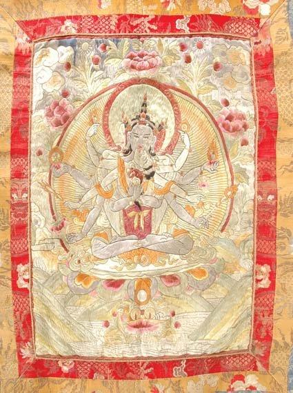 3021: Tibetan Silk Embroidered Thanka