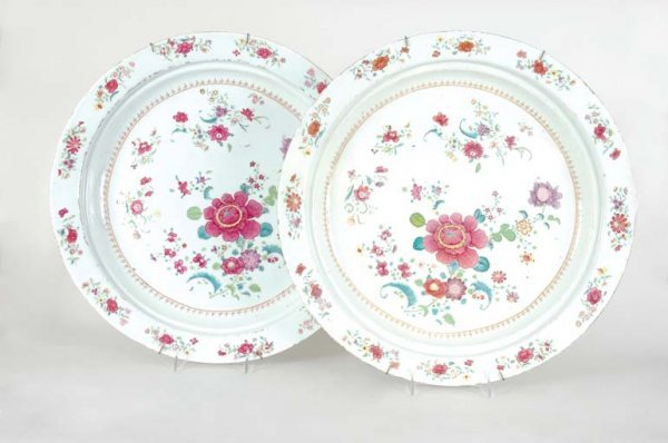 3023: Pair of Chinese Export Famille Rose Porcelain Cha