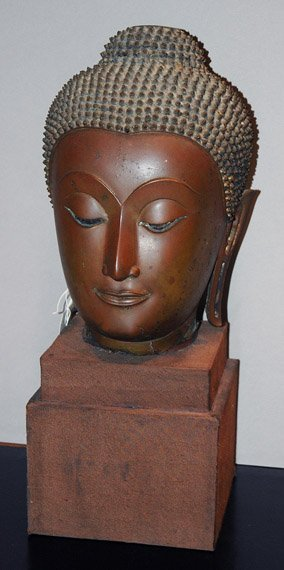 4151: Thai Patinated-Metal Head on a Stand