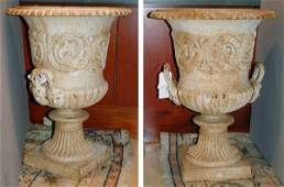 4466 Pair of Monumental White Painted Metal Garden Urn