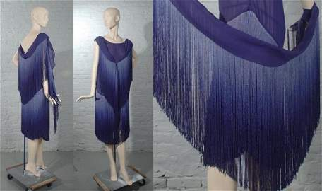 12: Chanel Blue Silk Ombre Fringe Evening Dress and Boa