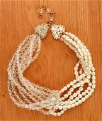 202 Coppola e Toppo Faux Pearl and Crystal Swag Neckla