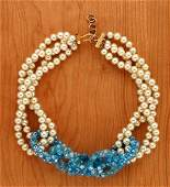 203: Coppola e Toppo Faux Pearl and Aqua Necklace