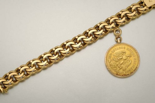 1002: Gold Curblink Bracelet with Mexican Coin Charm