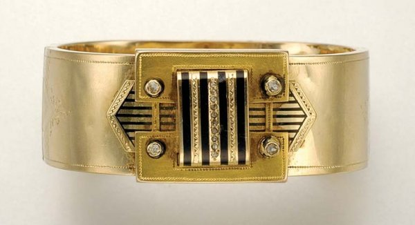1005: Antique Gold, Enamel and Diamond Bangle
