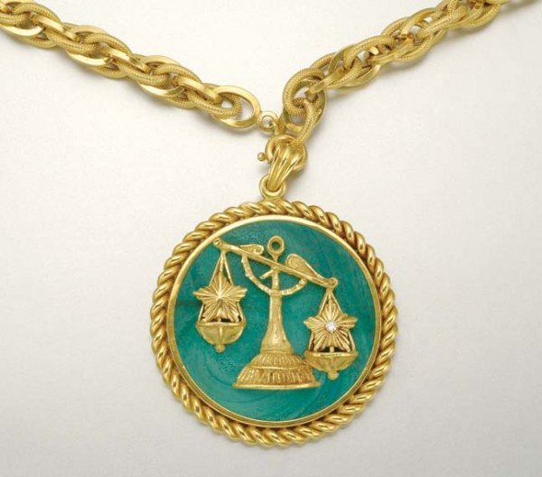 1006: Gold, Malachite and Diamond Libra Pendant with Go