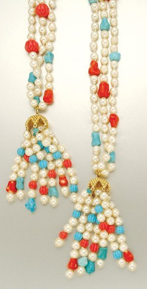 1010: Triple Strand Semi-Baroque Cultured Pearl, Coral,
